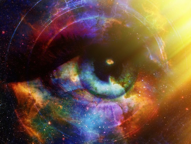 Woman Eye and cosmic space with stars and yellow light, and music speaker silhouette. abstract color background, eye contact, music concept